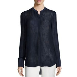 Vince Slub Texture Long Sleeve Silk Blouse Top